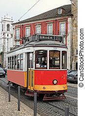 historiske, streetcar, ind, alfama, lissabon