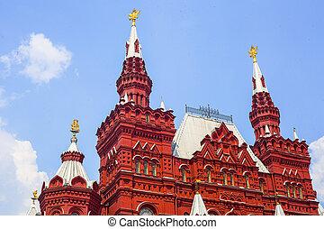 historiskt museum, på, röda fyrkantiga, in, moskva