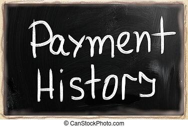 "history"", 黒板, チョーク, ""payment, 白, 手書き"