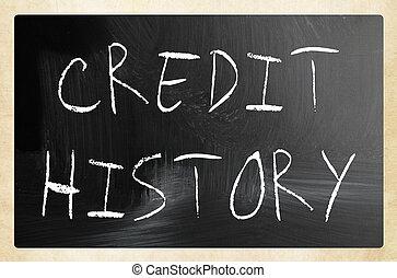 """history"""", 黒板, """"credit, チョーク, 白, 手書き"""