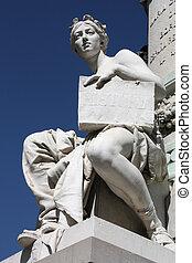 Allegory of history in front of famous Prado museum in Madrid, Spain (Cason del Buen Retiro)