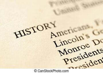 Selective focus of page with the word history and corresponding categories.