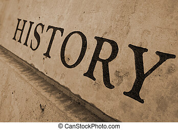 The word history carved in stone