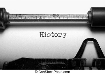 Close up of the word history typed on an old typewriter in black and white