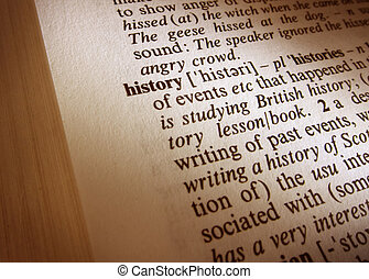 Dictionary definition close up of the word history
