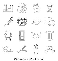 history, fishery, fitness and other web icon in outline style. hairdresser, cooking, traveling icons in set collection.