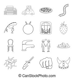 history, fishing, furniture and other web icon in outline style.sports, medicine, travel icons in set collection.