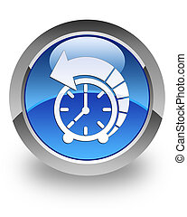 History glossy icon - History icon on glossy blue round...