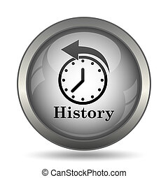 History icon, black website button on white background.