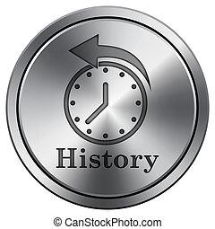 History icon. Round icon imitating metal.