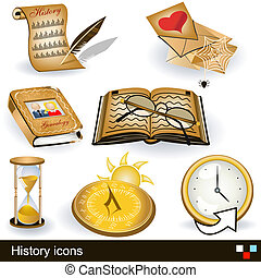 history icons - Illustration of history icons