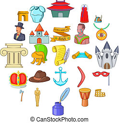 History icons set, cartoon style
