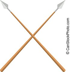 History lance tool two crossed ancient spears flat vector illustration.