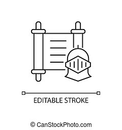 History linear icon. Medieval knight against background of ancient scroll. Cultural education. Thin line customizable illustration. Contour symbol. Vector isolated outline drawing. Editable stroke