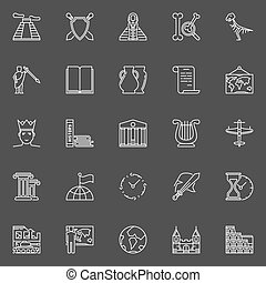 History linear icons. Vector set of outline ancient times symbols or pictograms on dark background