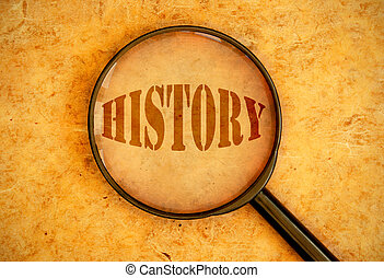 Magnifying glass focused on the word history