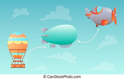 History of Aviation. Aerostat, airship and aircraft on sky...
