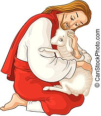 History of Jesus Christ. The Parable of the Lost Sheep. The Good Shepherd Rescuing a Lamb Caught in Thorns isolated on white