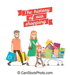History of our Shopping. Family with Cart Set