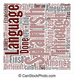 History Of The Spanish Language In Latin America text background word cloud concept
