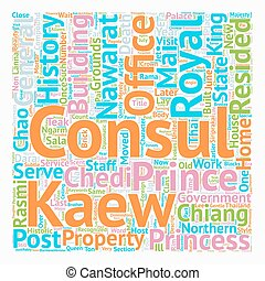 History of US Consulate in Chiang Mai text background wordcloud concept