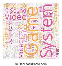 history of video game systems text background wordcloud concept