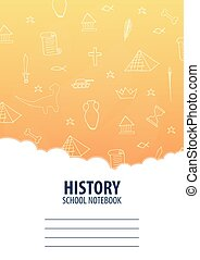 History School Notebook template. Back to School background. Education banner.