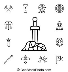 History, sworn, stone flat vector icon in history pack on white background