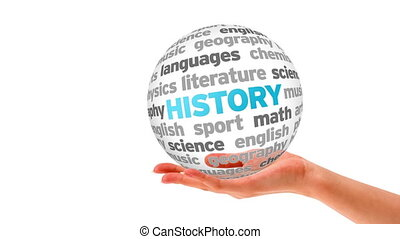 History word Sphere - A person holding a 3D History word...