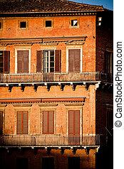 historyczny, architektura, siena