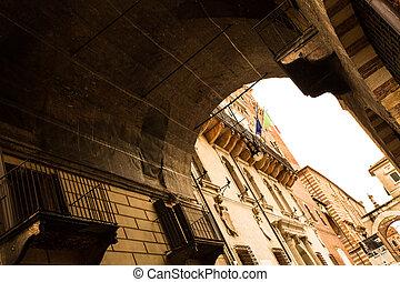 historyczny, architektura, w, verona