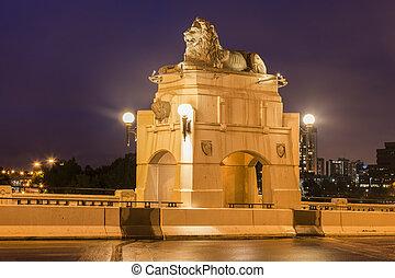 historyczny, centrować ulicę most, w, calgary
