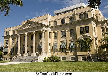 historyczny, courthouse, w, zachód, dłoń