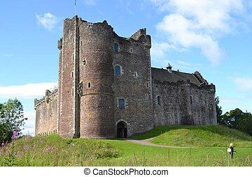 historyczny, duone, zamek, w, szkocja