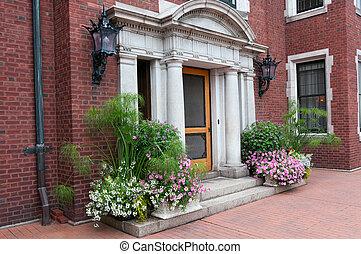 historyczny, dwór, wejście, i, dekoracje, w, duluth