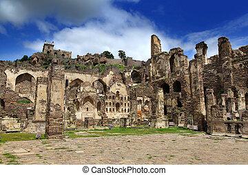 historyczny, golkonda, fort