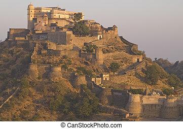 historyczny, indianin, fort