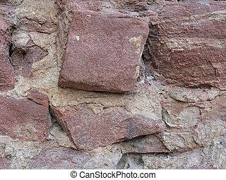 historyczny, kamień ściana, szczegół