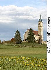 historyczny, mały, kościół, w, wiejski, bawaria, niemcy