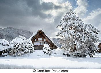 historyczny, miasteczka, od, shirakawa-go, japonia, w, śnieżny, day.