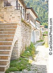historyczny, miasto, od, berat, w, albania, świat, dziedzictwo, umiejscawiać, przez, unesco
