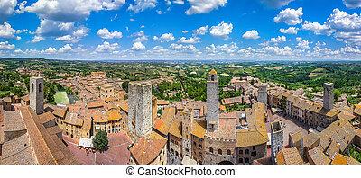 historyczny, miasto, od, san gimignano, z, toskańczyk, okolica, tuscany, włochy