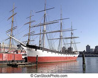 historyczny, nawigacja statek, w, molo, od, nowy york