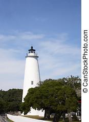 historyczny, ocracoke, latarnia morska, na, przedimek określony przed rzeczownikami, bariera, wyspy, od, przedimek określony przed rzeczownikami, zewnętrzny koral, na północ carolina
