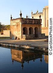 historyczny, qutbshahi, groby