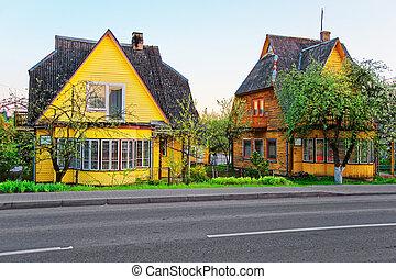 historyczny, stary, drewniany, domy, w, druskininkai