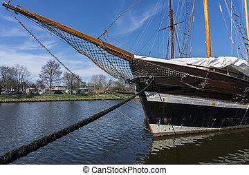 historyczny, statek, luebeck, niemcy