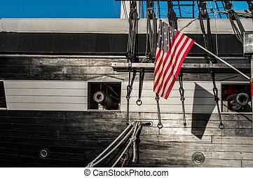 historyczny, statek, szczegół