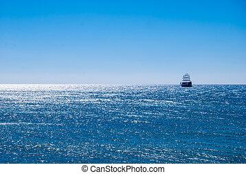 historyczny, statek, w, morze
