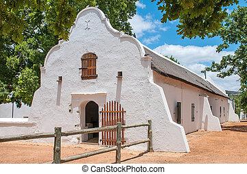 historyczny, stodoła, w, przylądek, holenderski, architektoniczny, styl